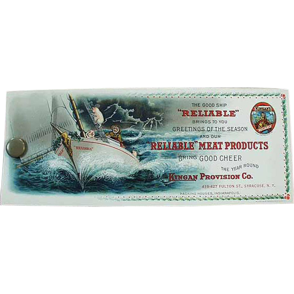 Vintage, Celluloid Advertising Blotter - Reliable Meats - Great Graphics