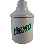 Vintage, Thompson's Hemo, Porcelain Malt Canister with Lid
