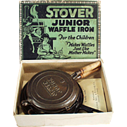 Child's Vintage, Cast Iron, Stover Junior Waffle Iron with Original Box