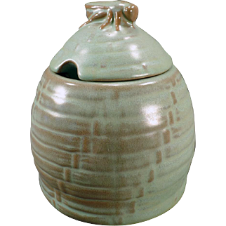 Vintage Frankoma, #803 Bee Hive Honey Jar with Lid - Green Glaze