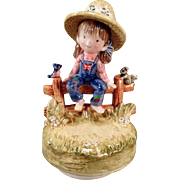 Vintage Music Box - Girl on Fence - Tie a Yellow Ribbon Tune