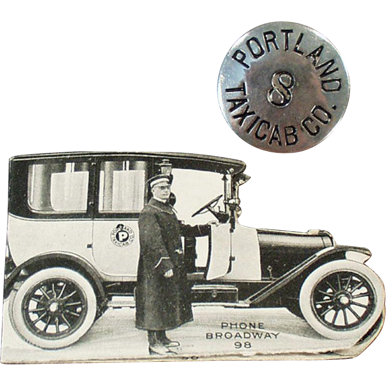 Vintage, Portland Taxicab, Driver's Hat Badge with Original Rate Card