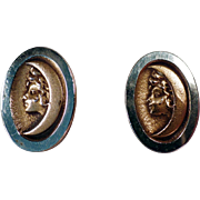 Vintage, Art Nouveau, Bean Back Cuff Links - Woman in Crescent Moon