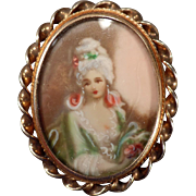 Vintage, Hand Painted Portrait, Pin/Pendant - Sammartino Bros.