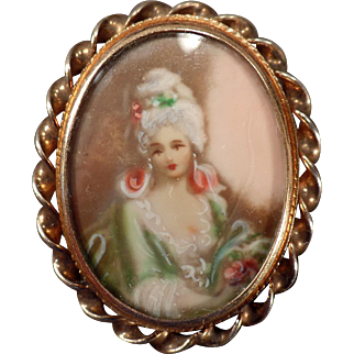 Vintage, Hand Painted Portrait, Pin/Pendant - Sammartino Bros.