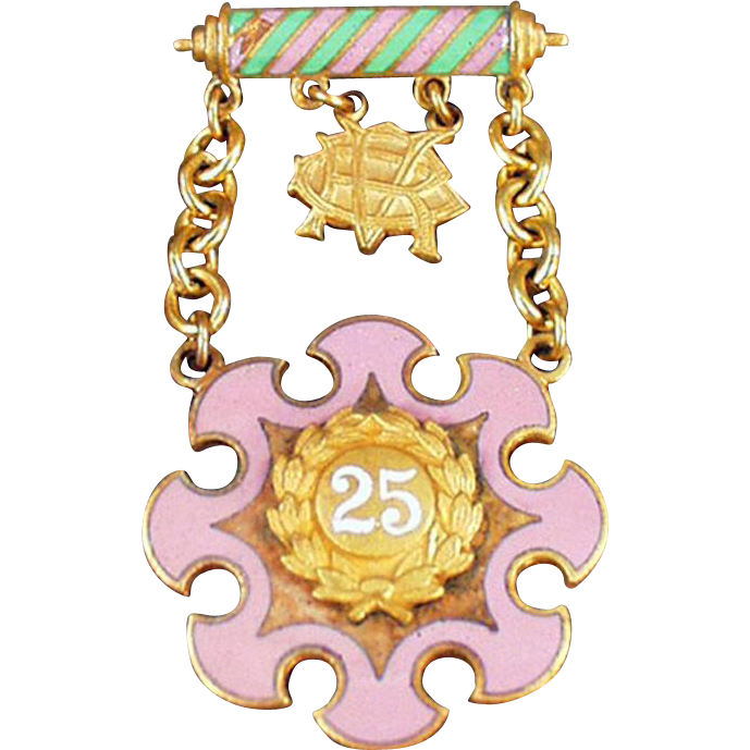Vintage Rebekah Lodge Jewelry - Degree of Rebekah, Veterans Jewel - 25 Year Pin