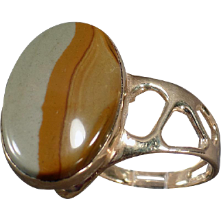 14k Gold Ring with Unusual Side Mount Picture Jasper - Artisan Made