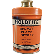 Vintage Holdtite Tin - Dental Plate Powder Tin