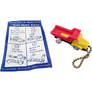 Vintage Puzzle Key Chain with Original Instructions - Dump Truck