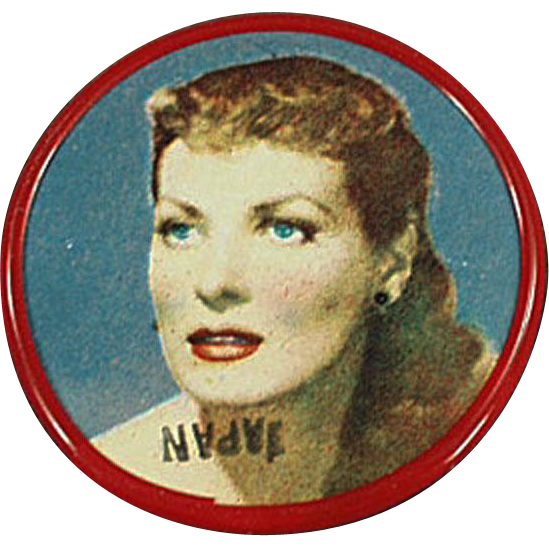 Vintage Celluloid Pocket Mirror with Movie Star Maureen O'Hara