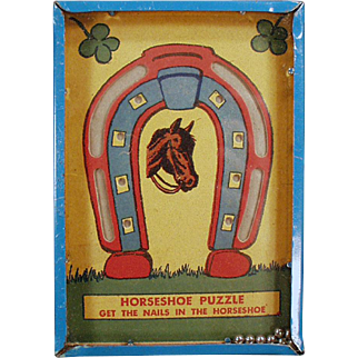 """Vintage Dexterity Game - Horseshoe Puzzle - """"Get the Nails in the Horseshoe"""""""