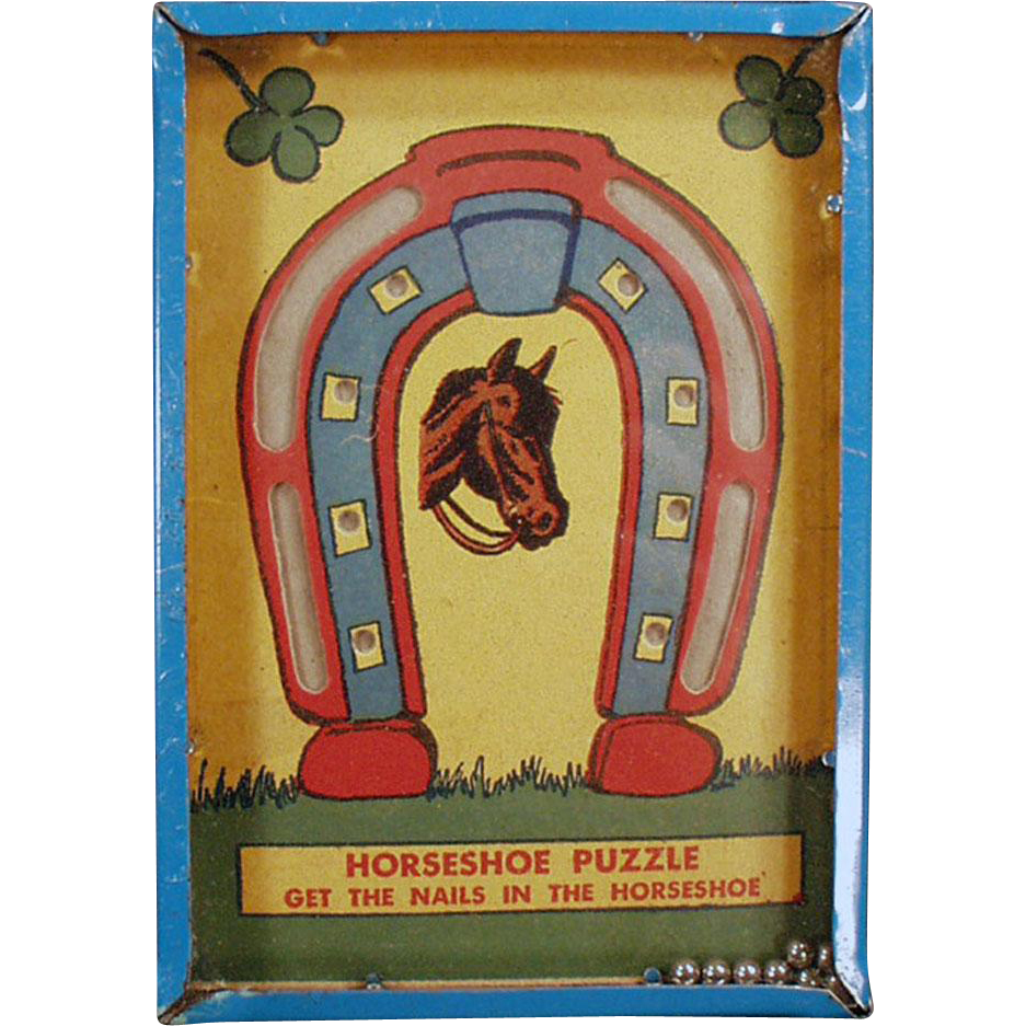 "Vintage Dexterity Game - Horseshoe Puzzle - ""Get the Nails in the Horseshoe"""