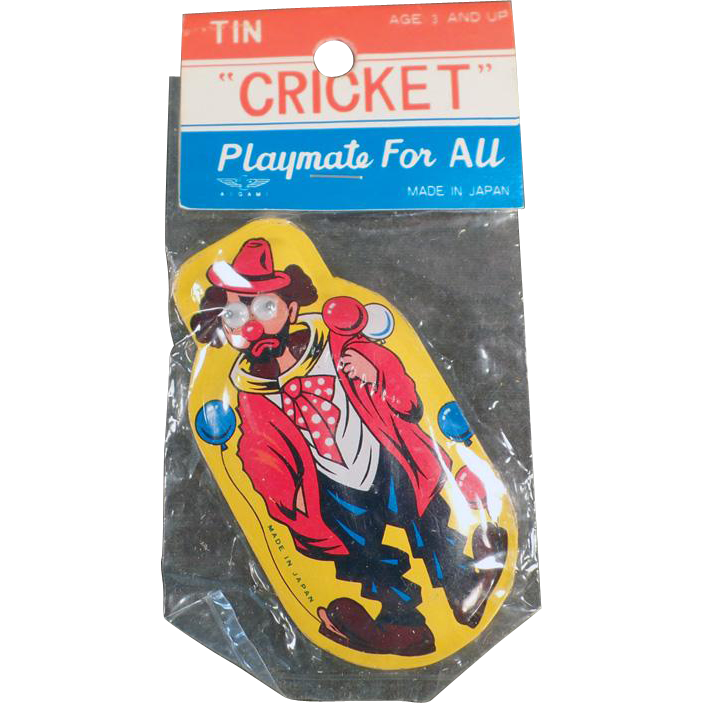 Vintage, Tin Clown Clicker Toy with Original Package