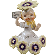 Vintage, April Birthday Porcelain - Daisy Girl by Napco