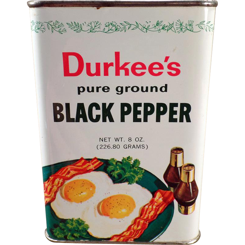 Vintage Spice Tin - Durkee's Black Pepper with Great Graphics