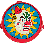 Vintage, Tin Tambourine Noise Maker with Laughing Clown