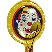 Vintage Noise Maker Toy with Colorful Clown Face