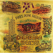 Vintage, Souvenir Pillow Cover in Original Mailer - Pikes Peak-Colorado Springs