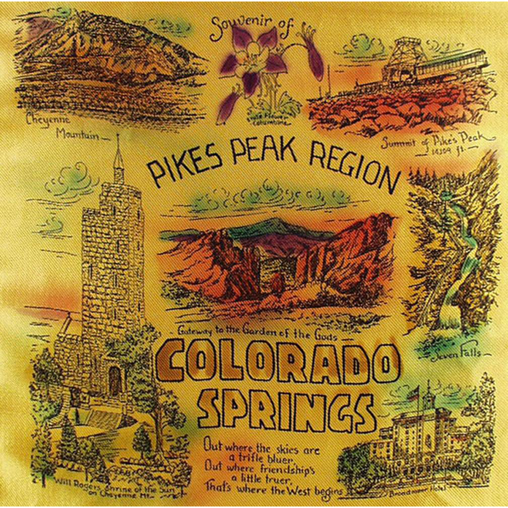 Vintage, Souvenir Pillow Cover in Original Mailer - Pikes Peak-Colorado Springs