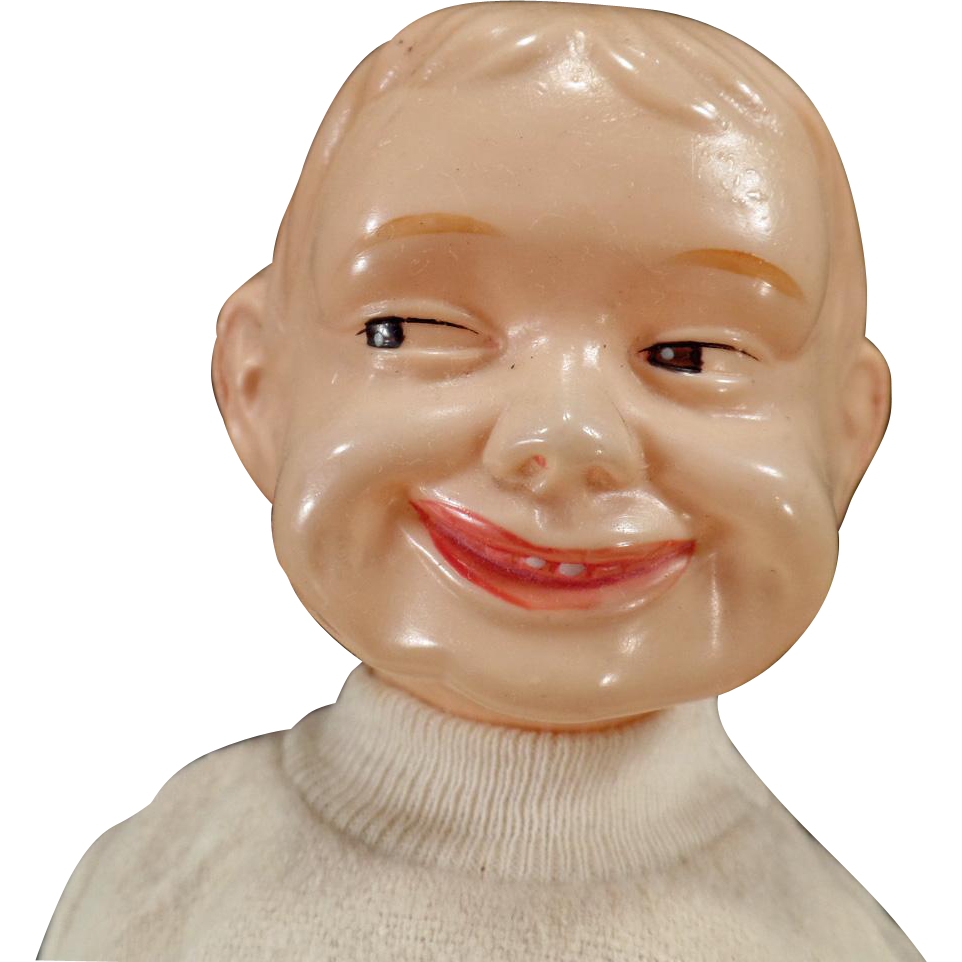 Vintage Celluloid, Cloth & Composition Boy Doll - What a Face! What a Grin!