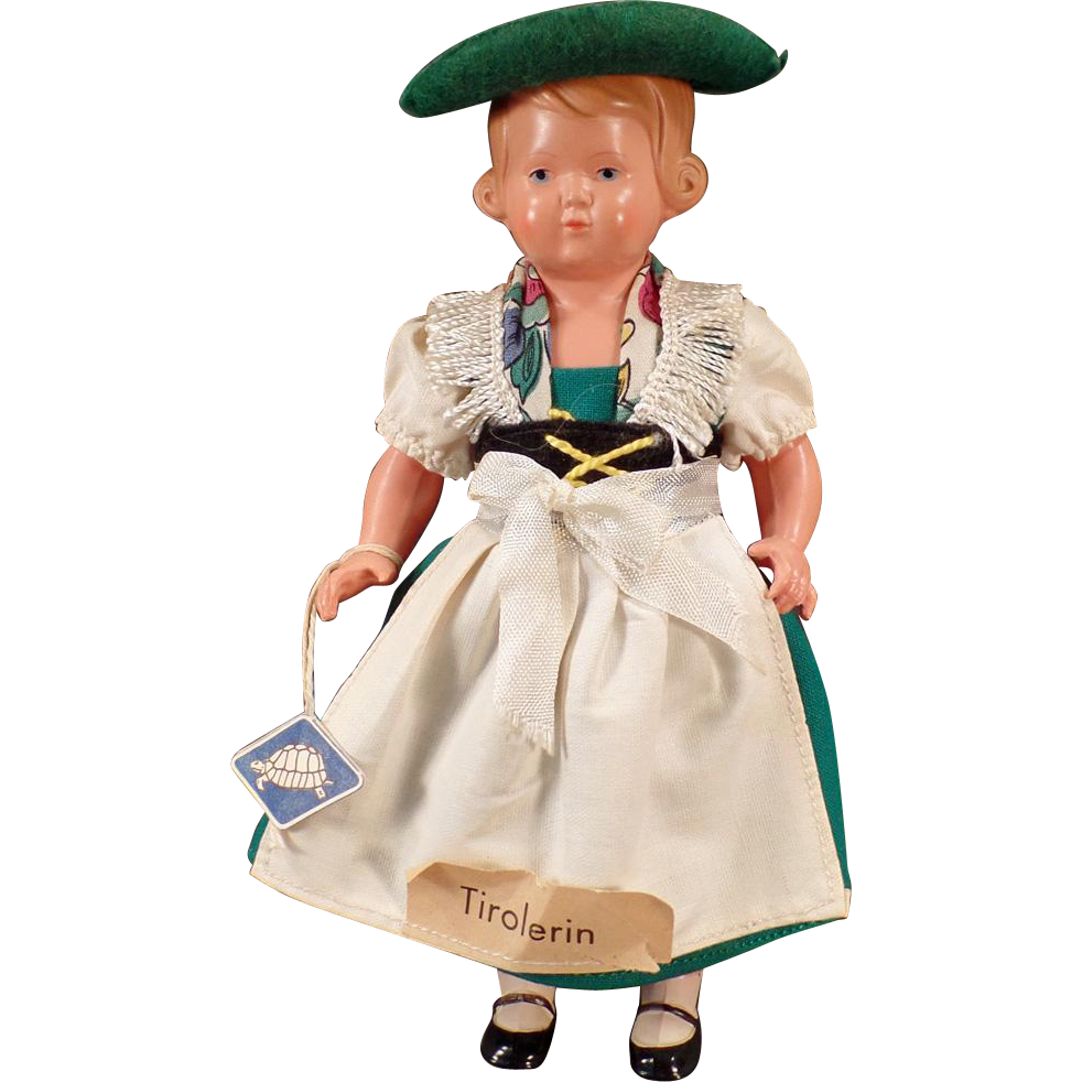 Vintage Celluloid Doll - Rheinische Gummi with Original Tyrolean Outfit
