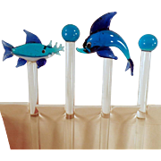 Vintage, Blown Glass Swizzle Sticks with 4 Different Fish- Set of 4