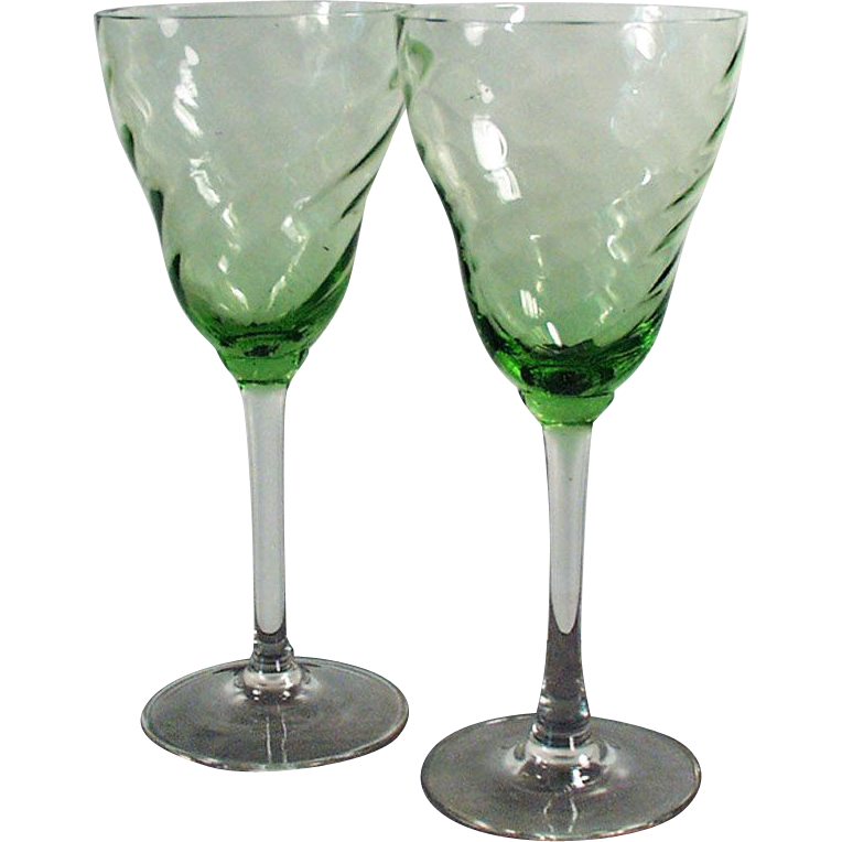 Vintage Stemware - Green, Optic Swirl Bowls with Clear Stems - Pair