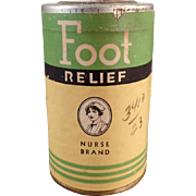 Vintage, Nurse Brand Foot Relief Powder Tin