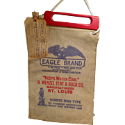 Vintage, Eagle Brand Water Bag with Wood Handle & Original Label