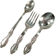 Vintage, 3pc Baby's Flatware Set - Victorian Rose Silver Plate