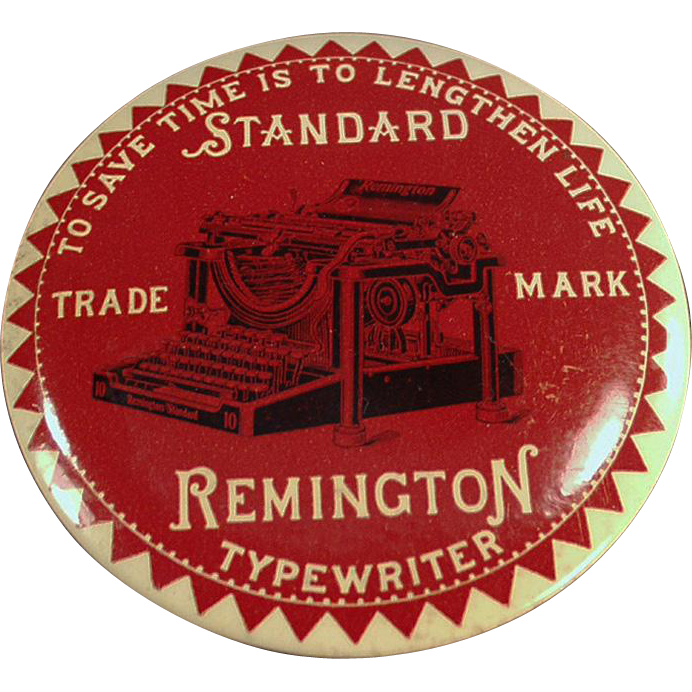 Vintage Advertising Mirror Paperweight - Remington Typewriter