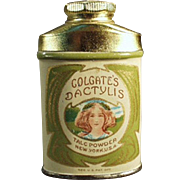 Vintage, Sample Talc Tin - Miniature, Colgate's Dactylis with Pretty Girl