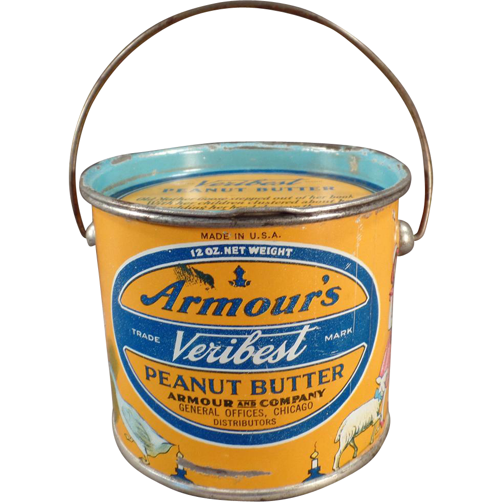 Vintage, Armour's Peanut Butter Tin - 12oz. Pail - Nursery Rhyme Graphics - Look for Some Fun