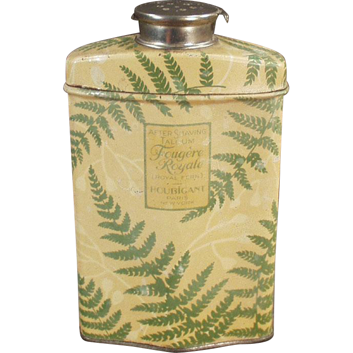 Vintage, After Shave Talc Tin - Houbigant Royal Fern