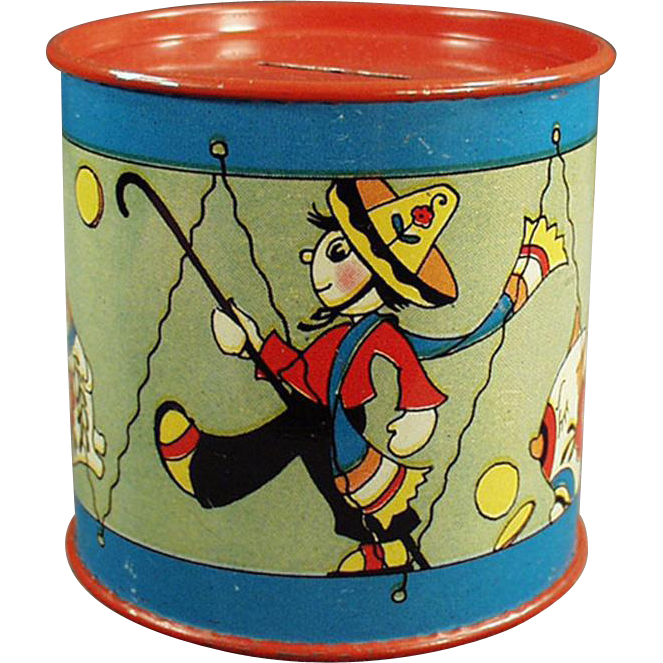 Vintage Tin Drum Bank with Fun Graphics by Fern Bisel Peat