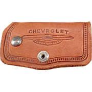 Vintage Leather Car Key Case - Chevrolet Advertising