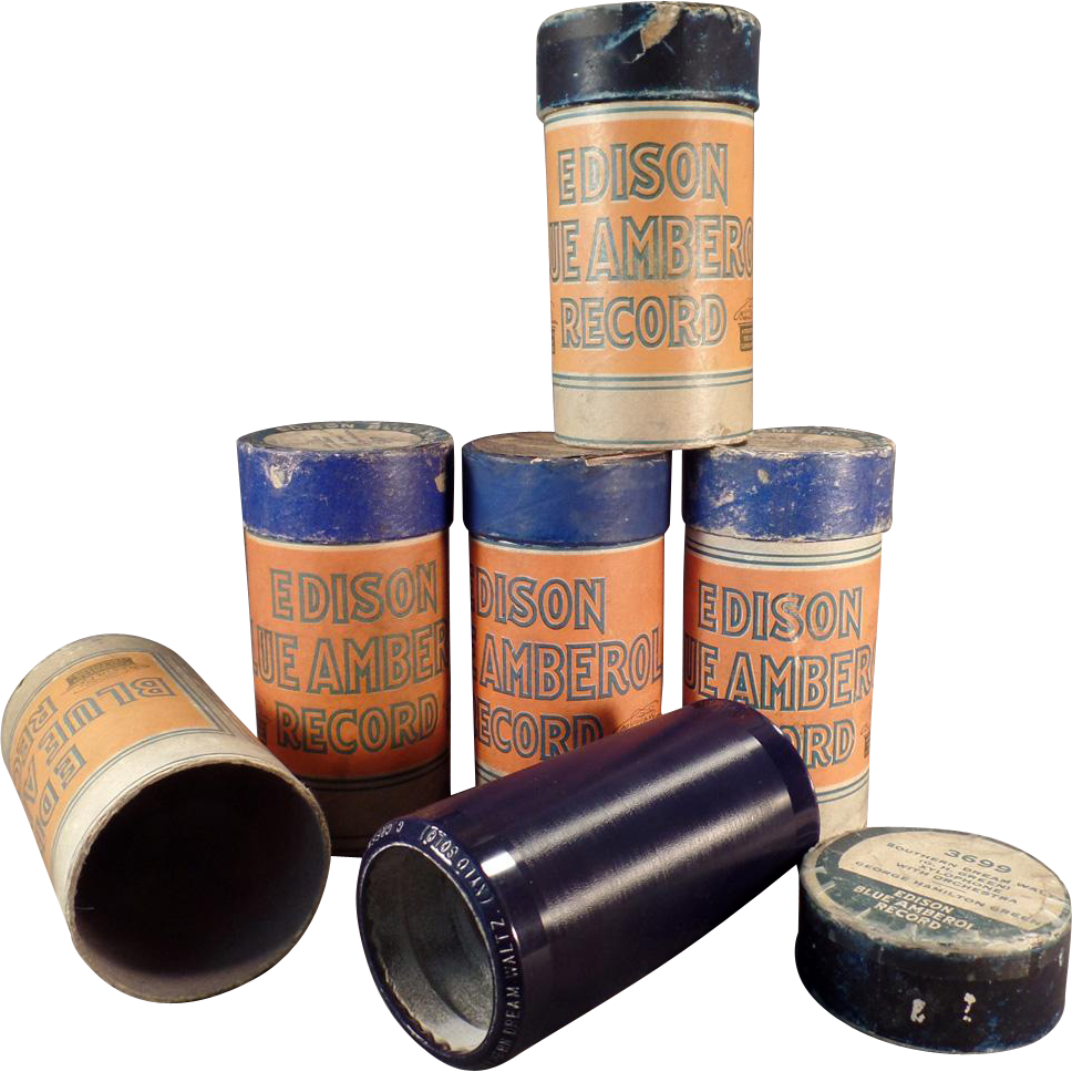 Vintage, Cylinder Phonograph Records - Edison, Blue Amberol - 5 w- Original Boxes