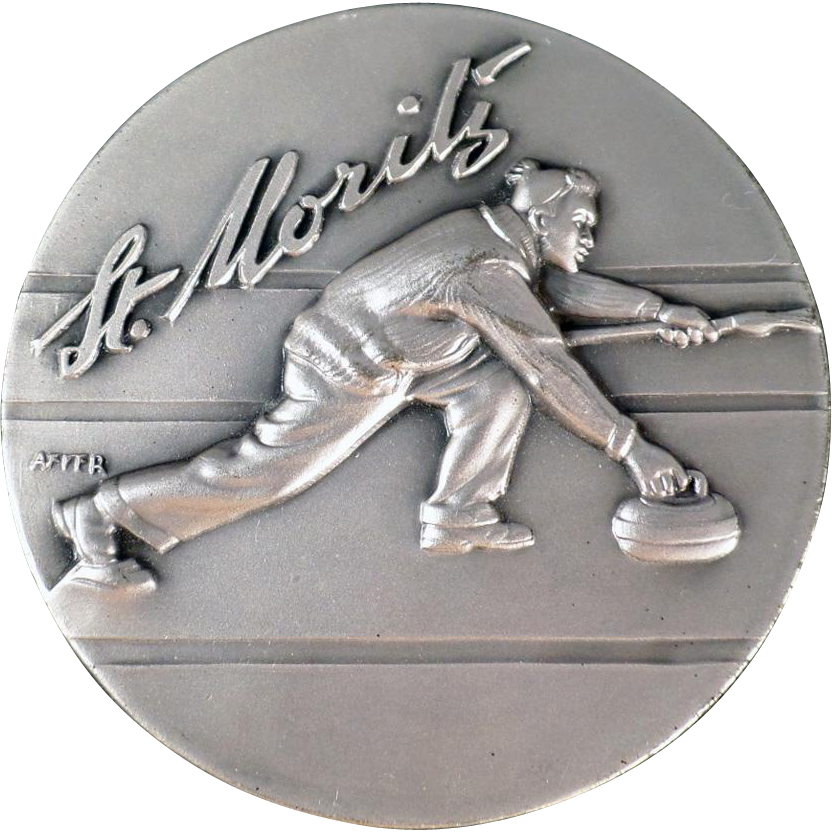 Vintage Medallion Medal - St. Moritz Engiadina Curling Club