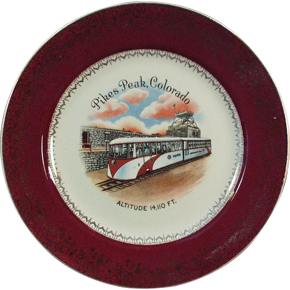 Vintage Souvenir Plate - Streamline Cog Train at Pikes Peak, Colorado