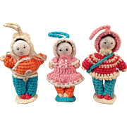 Vintage Crocheted Dolls - Miniature, Group of Three