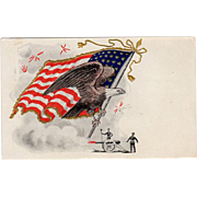 Vintage, 4th of July Postcard - United States Flag & Eagle