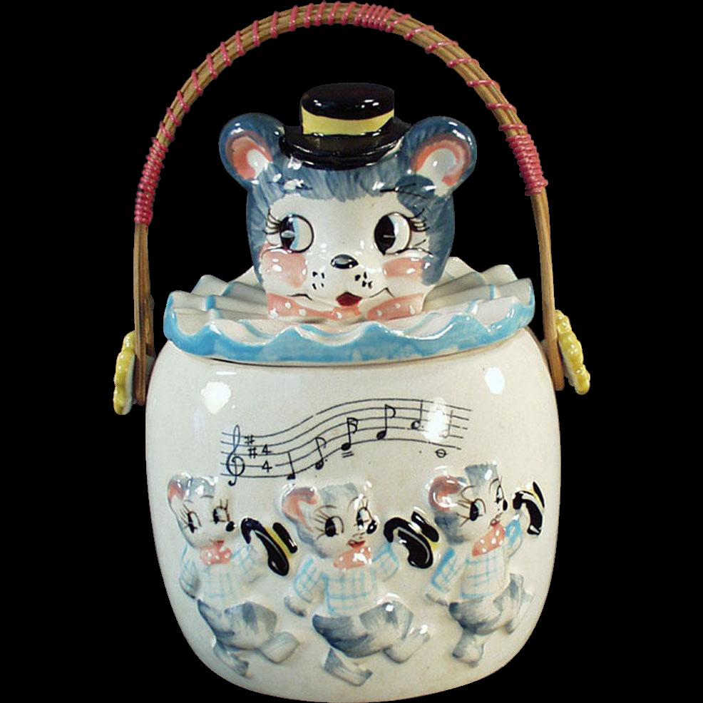 Vintage Cookie Jar with Wicker Handle - Very Cute
