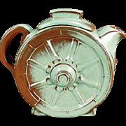 Vintage Frankoma Tea Pot - Wagon Wheel Pattern - Prairie Green Glaze