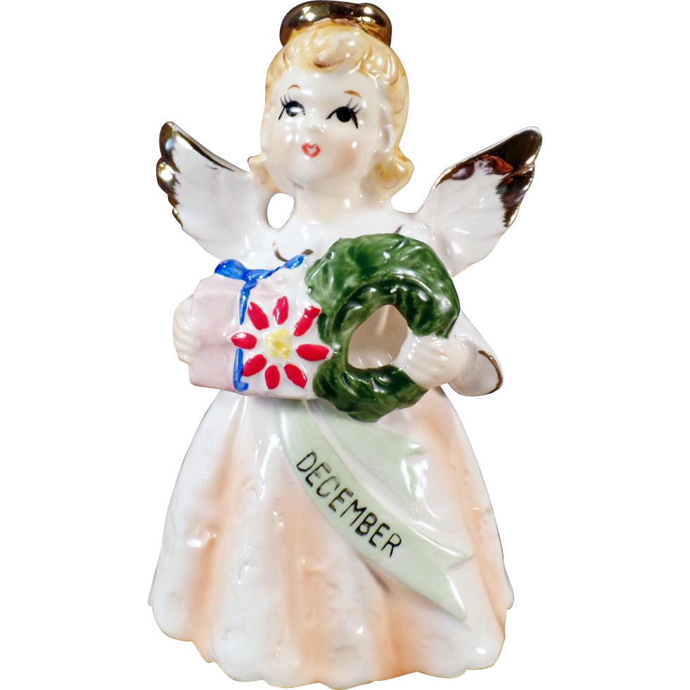 Vintage Birthday Angel for December with All the Christmas Trimmings