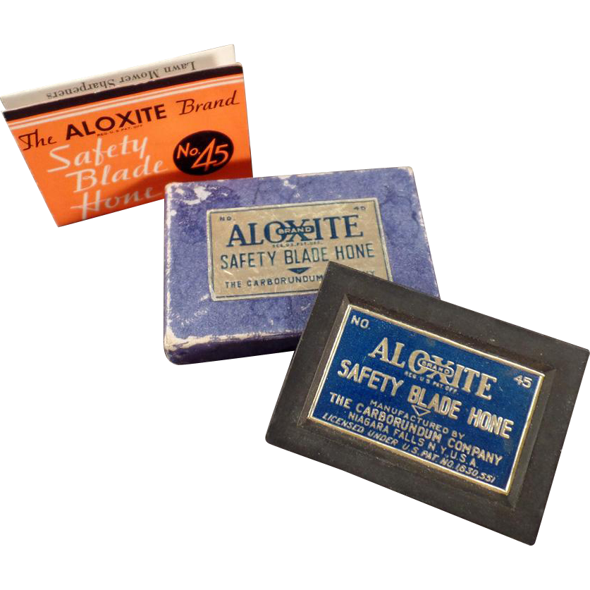 Vintage, Safety Razor Blade Hone - Aloxite #45 with Original Box