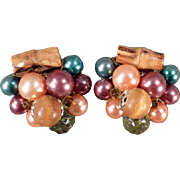Vintage, Costume Jewelry Earrings - Beads & Bamboo - Clip-Ons