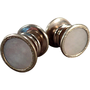 Vintage Cuff Links - Mother of Pearl in Silver Tone - Kum-A-Part Snap Style