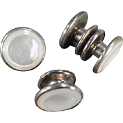 Vintage Cuff Links - Snap Link - Mother of Pearl in Silver Tone ca. 1920's