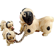 Vintage, Miniature Celluloid Dogs with 2 Pups