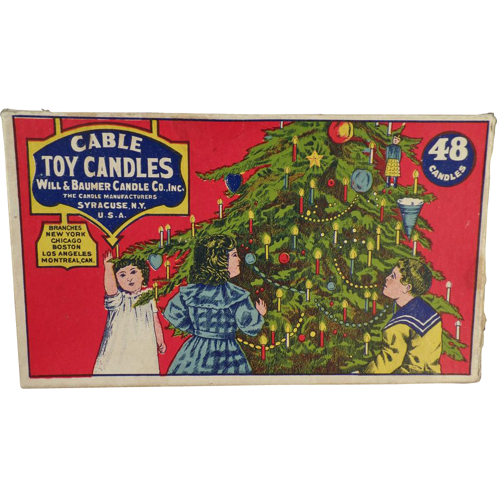Vintage Box for Cable Toy Candles - Beautiful Christmas Image